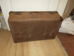 Régi vászonbevonatú bőrönd koffer 66cm