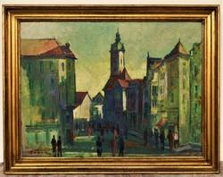 Gádor Emil (1911 - 1998) Pécs ? utcakép c. olajfestménye 90x70cm EREDETI GARANCIÁVAL
