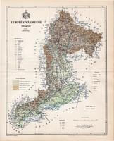 Zemplén vármegye térkép 1897, lexikon melléklet, Gönczy Pál, 23 x 29 cm, megye, Posner Károly, régi