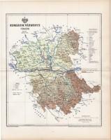 Komárom vármegye térkép 1895, lexikon melléklet, Gönczy Pál, 23 x 29 cm, megye, Posner Károly, régi