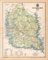 Bács - Bodrog vármegye térkép 1893, lexikon melléklet, Gönczy Pál, 23 x 29 cm, megye, Posner Károly
