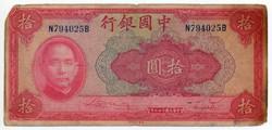 Kína 10 Yuan, 1940, sarokhiány