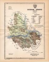 Esztergom vármegye térkép 1893, lexikon melléklet, Gönczy Pál, 23 x 29 cm, megye, Posner Károly