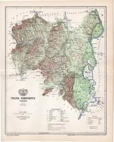 Tolna vármegye térkép 1897, lexikon melléklet, Gönczy Pál, 23 x 29 cm, megye, Posner Károly, eredeti