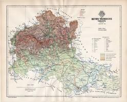 Heves vármegye térkép 1894, lexikon melléklet, Gönczy Pál, 23 x 29 cm, megye, Posner Károly, eredeti