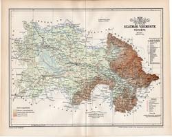 Szatmár vármegye térkép 1897, lexikon melléklet, Gönczy Pál, 23 x 29 cm, megye, Posner Károly, régi