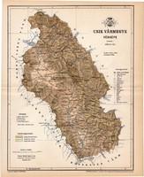 Csik vármegye térkép 1893, lexikon melléklet, Gönczy Pál, 23 x 29 cm, megye, Posner Károly, eredeti