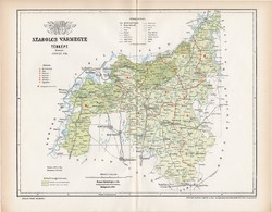 Szabolcs vármegye térkép 1894, lexikon melléklet, Gönczy Pál, 23 x 30 cm, megye, Posner Károly, régi