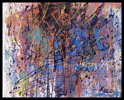 """""""Tekervények """" Koso festmény ,hatalmas méret 80 x 100 cm ,keretes akció"""