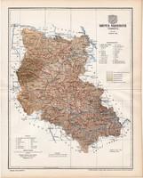Szepes vármegye térkép 1897, lexikon melléklet, Gönczy Pál, 23 x 29 cm, megye, Posner Károly, régi