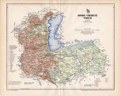 Sopron vármegye térkép 1897, lexikon melléklet, Gönczy Pál, 23 x 29 cm, megye, Posner Károly, régi