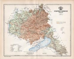 Veszprém vármegye térkép 1897, lexikon melléklet, Gönczy Pál, 23 x 29 cm, megye, Posner Károly, régi