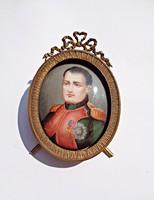 Antik miniatűr, porcelán kézzel festett Napóleon kép réz keretben
