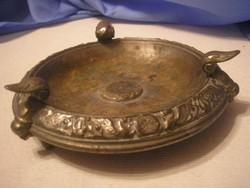 U3 Antik aufsats talp jelzett ezüstözött mitológiai kőrszegély sárkány+ lant díszes 3 lábú súlyos