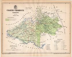 Csanád vármegye térkép 1893, lexikon melléklet, Gönczy Pál, 23 x 29 cm, megye, Posner Károly, régi