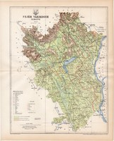 Fejér vármegye térkép 1894, lexikon melléklet, Gönczy Pál, 23 x 29 cm, megye, Posner Károly, eredeti