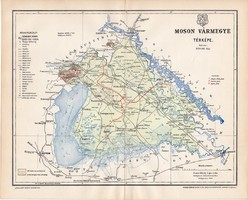 Moson vármegye térkép 1896, lexikon melléklet, Gönczy Pál, 23 x 29 cm, megye, Posner Károly, eredeti