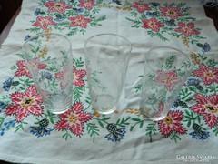 Kézzel csiszolt régi vékony falú üveg pohár 3 db