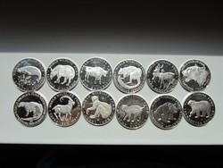 Csodaszép 12db-os ezüst érme kollekció Ritka 1000-s ezüsttartalommal , WWF védett állatok!   Csak kp