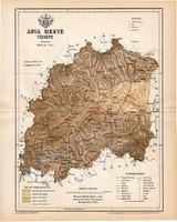 Árva vármegye térkép 1893, lexikon melléklet, Gönczy Pál, 23 x 29 cm, megye, Posner Károly, eredeti