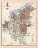 Somogy vármegye térkép 1897, lexikon melléklet, Gönczy Pál, 23 x 29 cm, megye, Posner Károly, régi