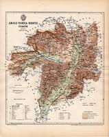 Abauj - Torna vármegye térkép 1892, lexikon melléklet, Gönczy Pál, 23 x 30 cm, megye, Posner Károly