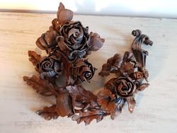 Meseszép antik kovácsoltvas rózsa csokor/koszorú