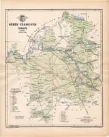 Békés vármegye térkép 1893, lexikon melléklet, Gönczy Pál, 23 x 29 cm, megye, Posner Károly, eredeti