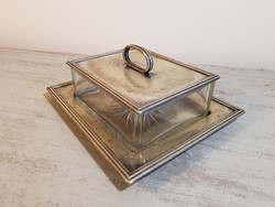 Meseszép art deco vaj-kaviártartó - szervírozó / üveg+ezüstözött fém