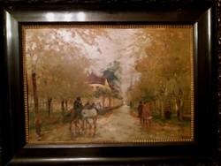 Eredeti Berkes Antal (1874-1938) Utcakép - Festmény