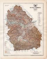 Hunyad vármegye térkép 1894, lexikon melléklet, Gönczy Pál, 23 x 29 cm, megye, Posner Károly, régi