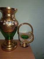 Aranyozott kézzel festett cseh üveg váza és kínáló