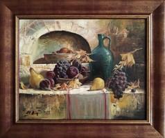 """Adilov Alim """"Gyümölcsös csendélet"""" című olajfestmény gyönyörű keretben ingyenes házhoz szállítással"""