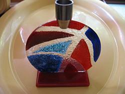 Iparművészeti különlegesség,Trans forme glass design portugál gyertyatartó