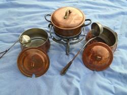 Rézből készült táborozó főző edény készlet nagyon igényes kézműves alkotások