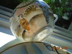 Kutani Kézzel festett,kézzel jelzett japán reggeliző készlet tojáshéj teás csészével