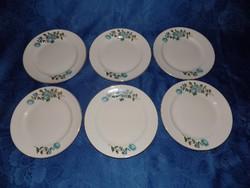 Régi porcelán virágmintás lapostányér készlet 6 db (2p)