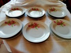 12 db Antik Zsolnay porcelán rózsás tányér készlet