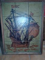 Tenger járó hajó csempekép