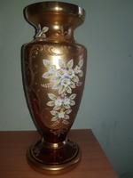 Aranyozott kézzel festett cseh üveg váza