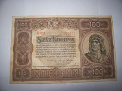 1920 évjáratú 100 koronás kép szerint