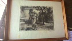 Törölköző női akt rézkarc ü.alatt kerettel jjl., 24,5x33,5 cm
