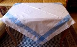 Damaszt abrosz asztalterítő, kék csíkos.123x118 cm