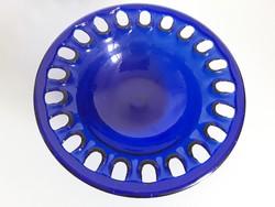 Gyönyörű,nagyméretű,áttört kék üveg gyümölcsöstál,asztalközép,kínáló