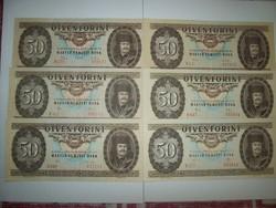 6 db 50 forintos egyben 1969,75,80,83,86,89 kép szerint