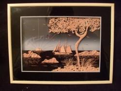 E10   Chinai fa üveglapos miniatűr  Csodás  Kézi Faragású Dísz Kép 17 x 13 cm