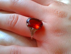 Antik ezüst gyűrű:1.2 Ct PADPARADSCHA kővel