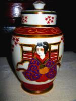 Japán  gésás fedeles váza ? tea tartó ?