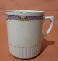 Régi, ritka Zsolnay bögre lila csíkkal és rózsákkal, csésze