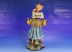 0I895 Régi Graefenthal porcelán vízhordó nő 42,5cm